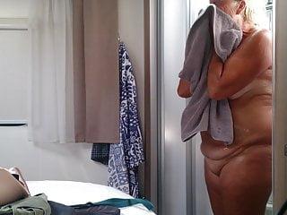 Fat granny in the shower