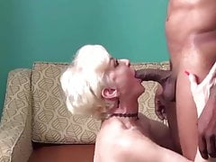 Blonde Mature Lady makes Love to her younger Black Lover